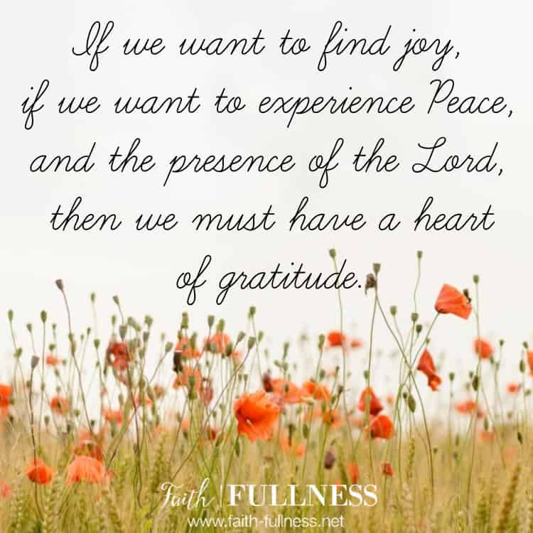 Gratitude is key because if we want to find joy, if we want to experience peace and the presence of the Lord, we must have a heart of gratitude. If we only ever focus on what we don't have, we'll never be able to experience the fullness of all the Lord has for us. | Faith-Fullness.net